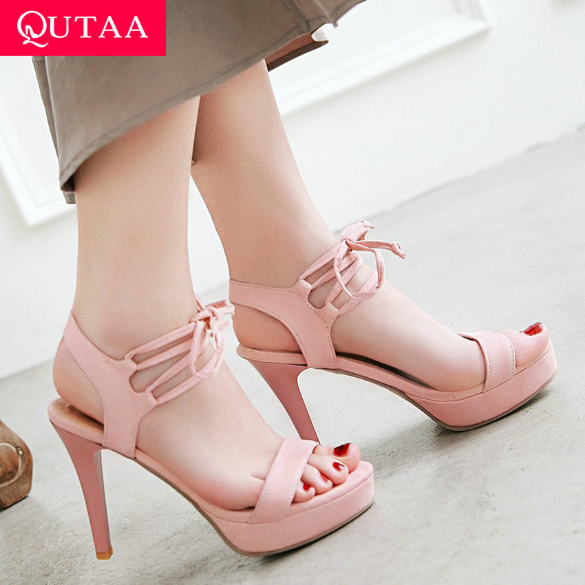 QUTAA 2019 Sexy Thin High Heel Pointed Toe Women Shoes Ladies Sandals Platform Lace Up Party Shoes Women Sandals Size 34-43QUTAA 2019 Sexy Thin High Heel Pointed Toe Women Shoes Ladies Sandals Platform Lace Up Party Shoes Women Sandals Size 34-43