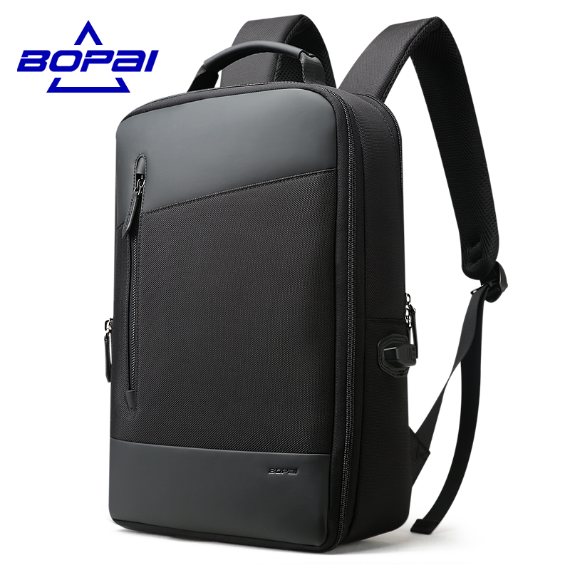 BOPAI Nylon Leather Mens Plecak Turystyczny Fashion Business Expandable Men Backpacks Bl ...