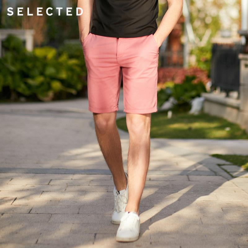 SELECTED Men's Summer Pure Color Cotton-blend Business-casual Shorts S|4192SH511