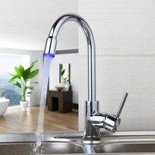 Традиционные светодиодные улучшенный доставленных умеренная цена Chrome полированной бортике горячей и холодной воды удобство Кухня бассейна кран