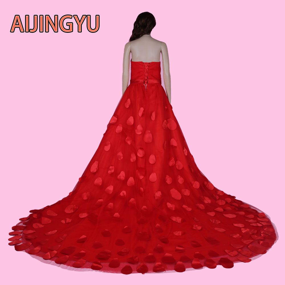 AIJINGYU 2017 new free shipping cheap wedding dresses sexy women girl plus size red lace up back gown wedding dress sy20