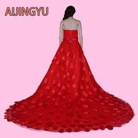 AIJINGYU 2017 nowy darmowa wysyłka tanie suknie ślubne sexy kobiet dziewczyna plus size red lace up powrót suknia ślubna suknia sy20