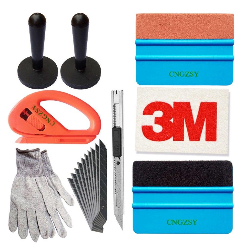 Gamuza lana Squeegee soportes magnéticos arte cuchillo guantes vehículo ventana película del abrigo aplicación instalación herramientas Kit K39