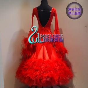 Image 2 - Women swing tango waltz Smooth us 8 dance competition dress Gradation  ballroom dance dress Long sleeves  ballroom dance  dress