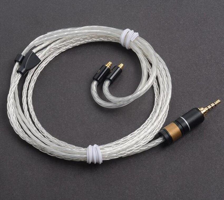 Fait à la main bricolage 2.5mm ligne équilibrée 8 Core monocristallin argent mis à jour câble pour SE525 SE846 UE900 AK380 N5 PAW5000 L3 FIIO X5