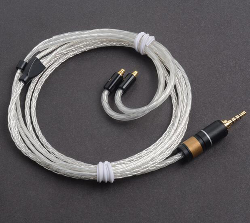 Hand Made DIY 2.5mm Balanced Line 8 Core Single Crystal Silver Updated Cable For SE525 SE846 UE900 AK380 N5 PAW5000 L3 FIIO X5 wooeasy custom made 8 core the heart of the ocean earphone upgrade cable for ue pro18 se215 ie80 im40 70 w4r ue900 tf10 15