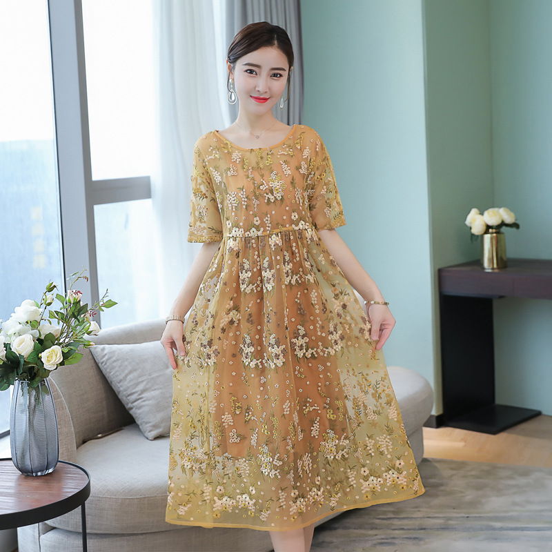 Beauty Elegant Ladies Flowers Embroidery Dress Plus Size 4XL Summer Vestidos Pleated Half Sleeve Chiffon Dresses Woman Vestidos
