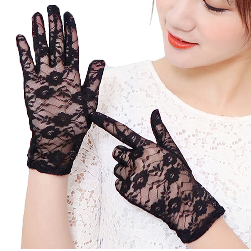 Morewin Fashion Lace Rose Summer Net Women Driving Gloves Elegent Women Driving Mittens Thin Formal Female Gloves Thin Mittens
