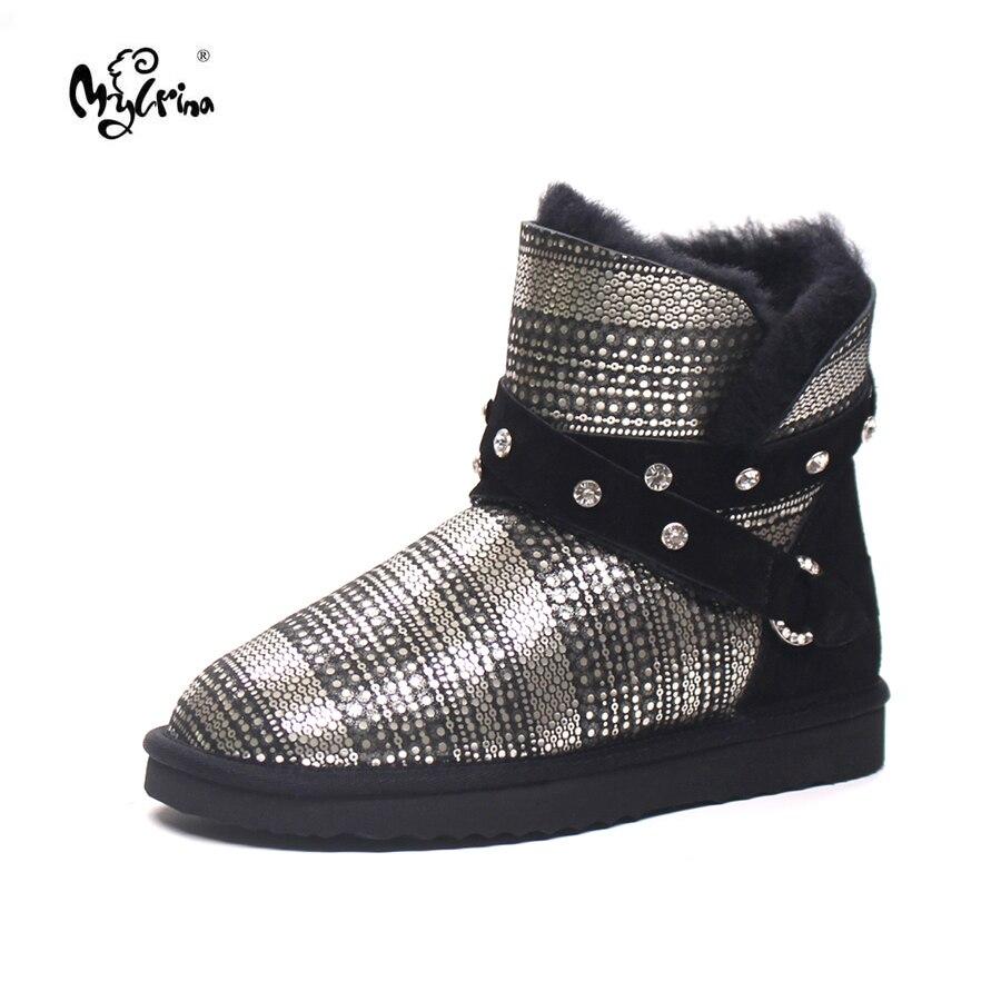 купить Top Quality Women Snow Boots Warm Winter Boots Genuine Sheepskin Leather 100% Natural Fur non-slip Waterpoof Women Ankle Boots онлайн