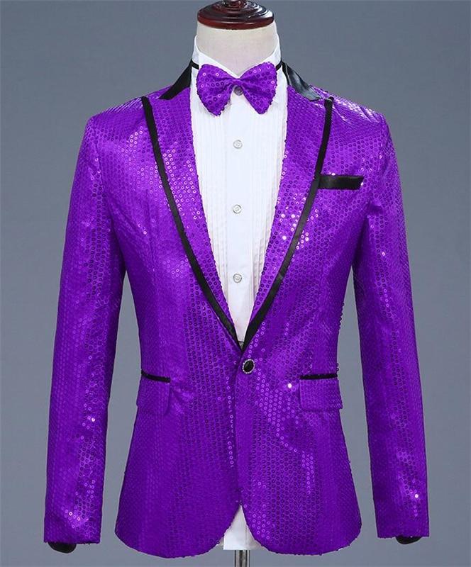 Elegant Purple Sequined Men's Suit Jacket For The Show Coat Long Sleeve Peaked Collar Men Blazer For Party Groom