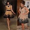 2017 Kim Kardashian Celebrity Dresses A Linha Sccop Mangas Champagne Apliques de Tule Curto Vestidos No Tapete Vermelho