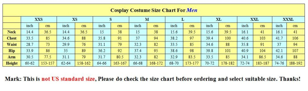 size chart for men
