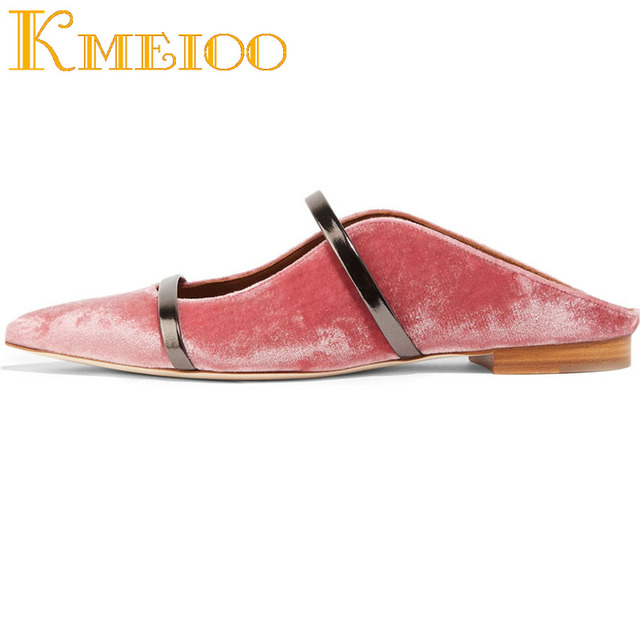 Kmeioo  Sexy Shallow Women Heel Shoes Pointed Toe Flats Slip On Mules Dress Causal Shoes