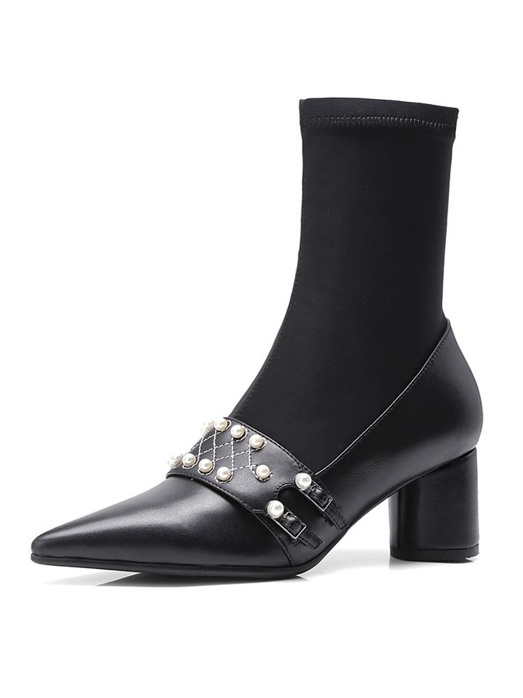 Punta Cuero G50 Tacones Elástico Botines Negro Tire Mujeres Perlas Toe Altos Zapatos Chunky De Tejido 5wUq6UxI
