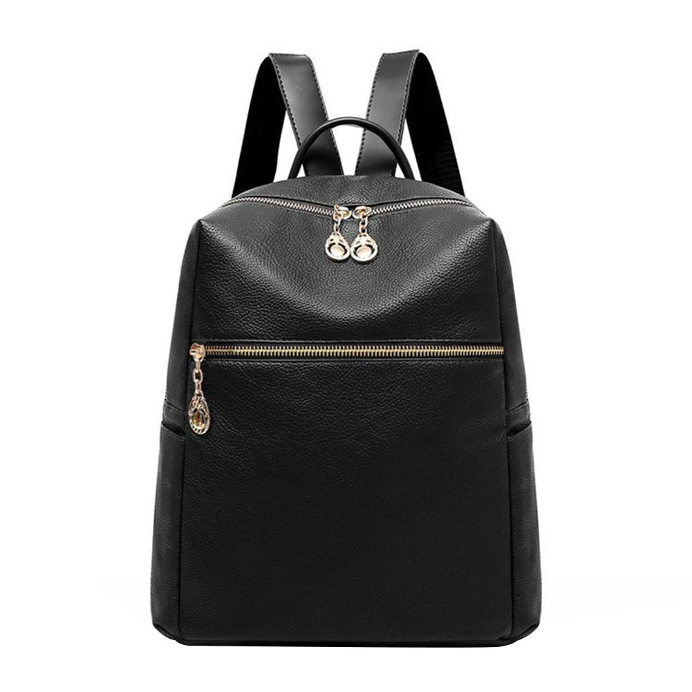 Fashion Retro Solid Color Faux Leather Women's Travel Casual Backpack Shoulders Bag