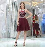 Burgundy Short Prom Dress Sexy Halter Sleeveless Chiffon Party Gown Plus Size Custom Made Limited