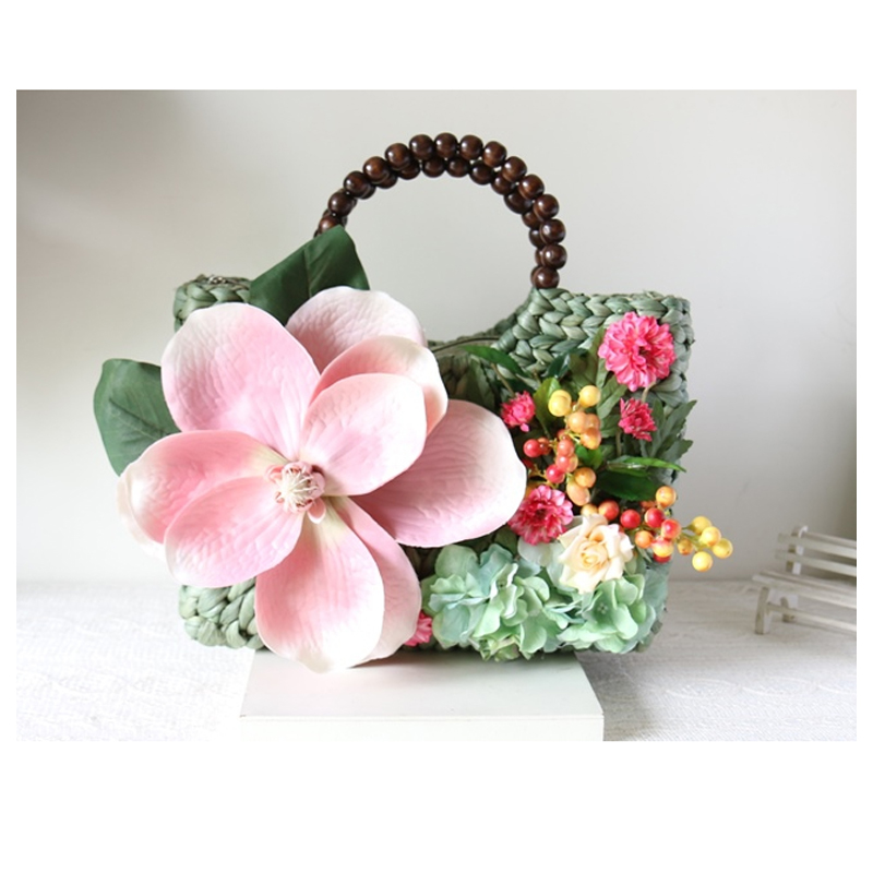 ФОТО Vintage 3D flower natural material weaved garden light green tote summer beach party purse basket handmade bag lady's vacation