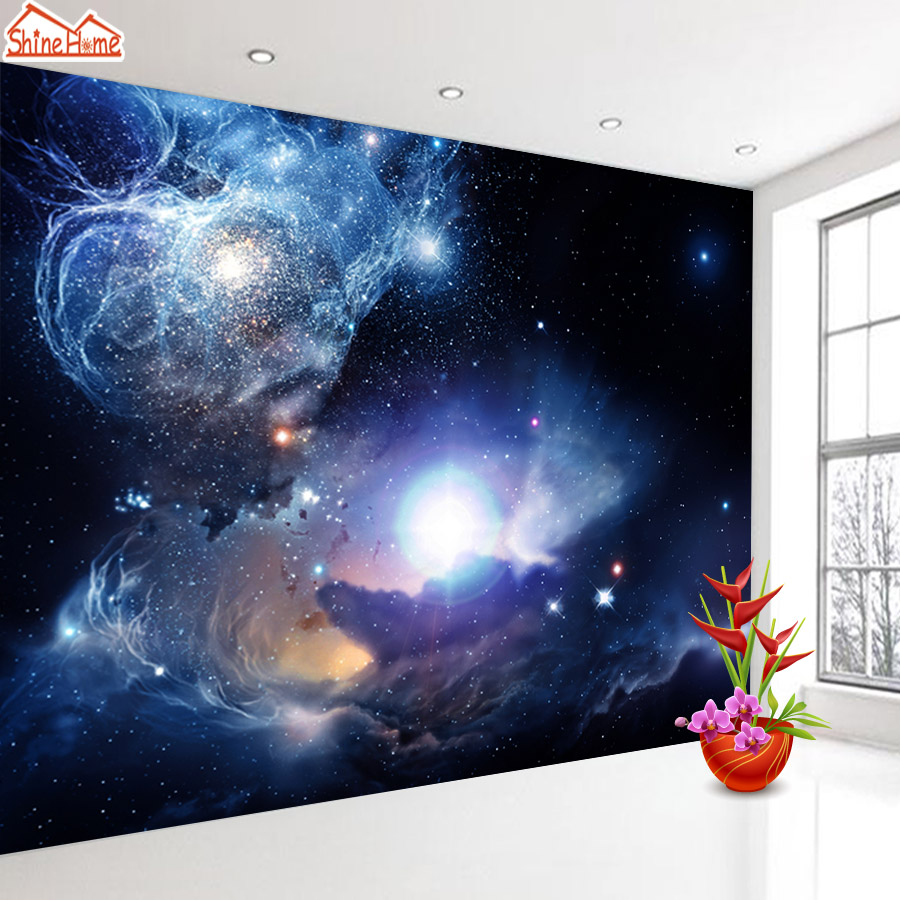 ShineHome-Starry Night Space Star Planet Wallpaper Murals Roll for 3d Walls Wallpapers for 3 d  Living Room Bedroom Wall Paper shinehome lamp bulb in water art 3d wallpaper wallpapers photo walls murals for 3 d living room still life home roll wall paper