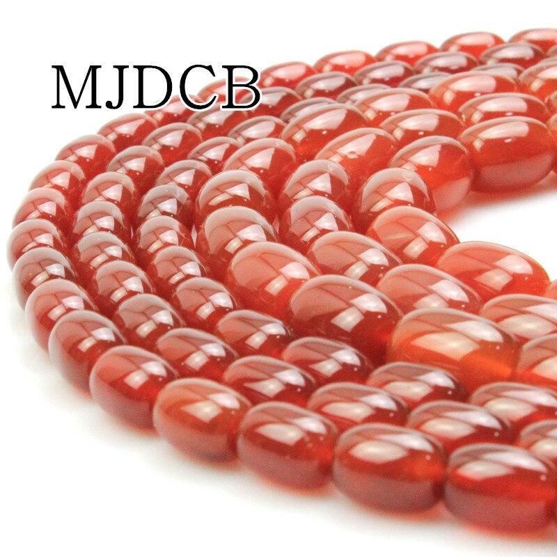 MJDCB 10×14 мм 13×18 мм Гладкая Колонка Красный Агаты бисер натуральный StonesFor DIY Цепочки и ожерелья Браслеты ювелирные изделия делая