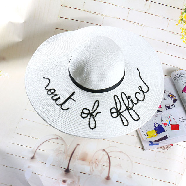 2016 new fashion letters ribbon great eaves ms sun hat hat summer sun hat beach sunscreen folding
