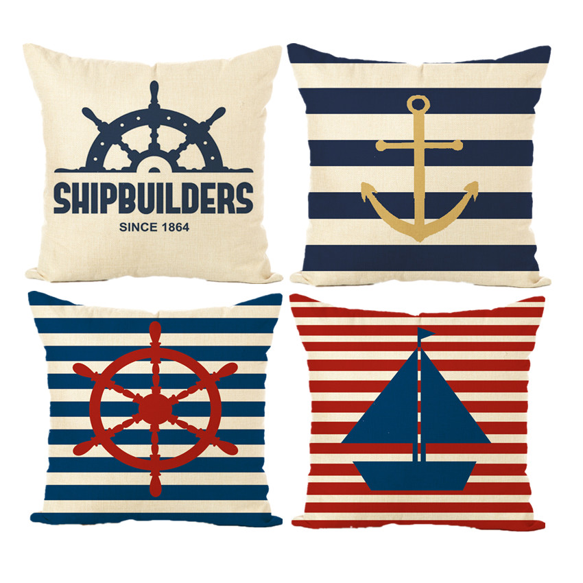 Anchor Red Helm Cushion Cover Anchor Boat ocean Marine Linen Throw Pillow Case Home Deco ...