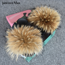 2019 New Real Raccoon Fur Slides Womens Wide Fluffy Flip Flops Summer Sandals Natural Slippers S6047