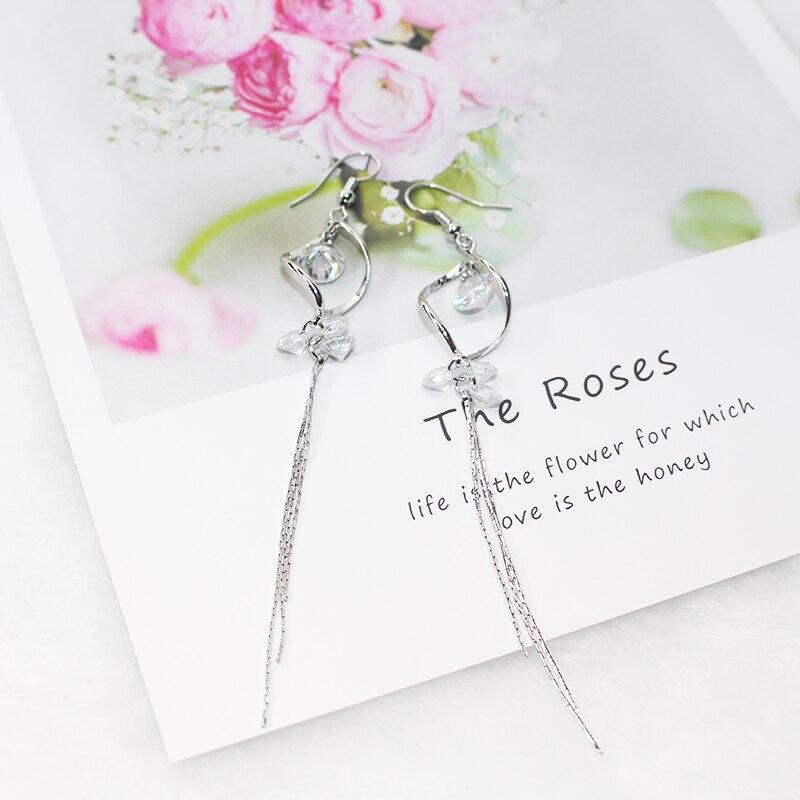 CHEN FAN Fashion Double Loop Drop Earrings For Women Long Wave Dangle Earrings High Quality Statement Wedding Jewelry pal eye in Drop Earrings from Jewelry Accessories