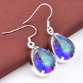 Free Shipping - New Arrival Beautiful Rainbow Mystic Synthetic Topaz Silver Plated Earrings For Women Europe popular E0332