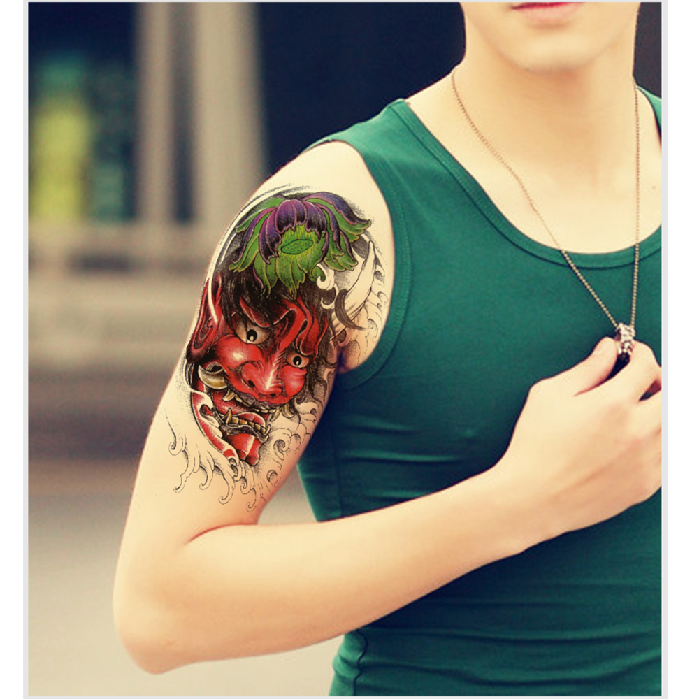 Pattern waterproof arm sleeve body shoulder temporary tattoo sticker - Ghost Pattern Men Fake Sleeve Tattoo Sticker Lotus Women Temporary Tattoos Flower Arm Shoulder Waterproof Tattoos Halloween Gift In Temporary Tattoos From