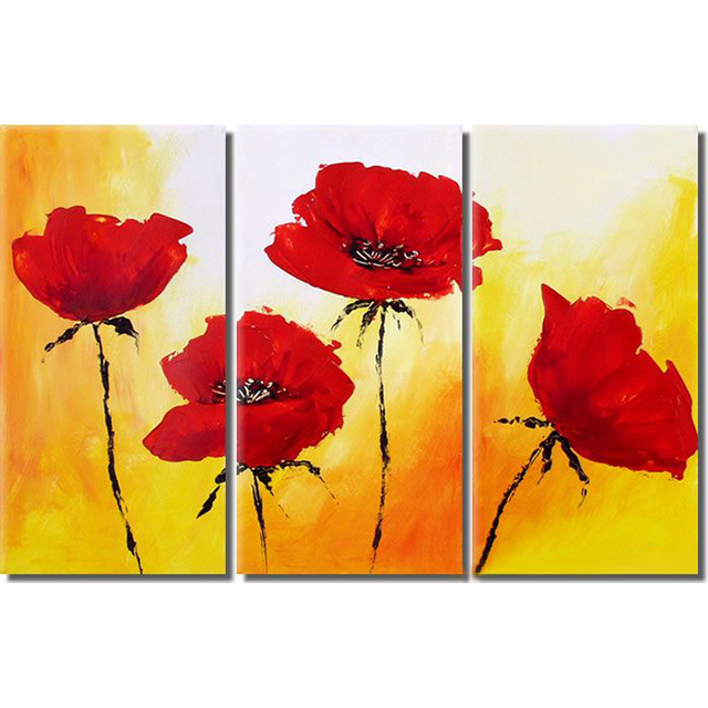 3 Panel Red Poppy Flower Hand Painted Canvas Oil Paintings Modern ...