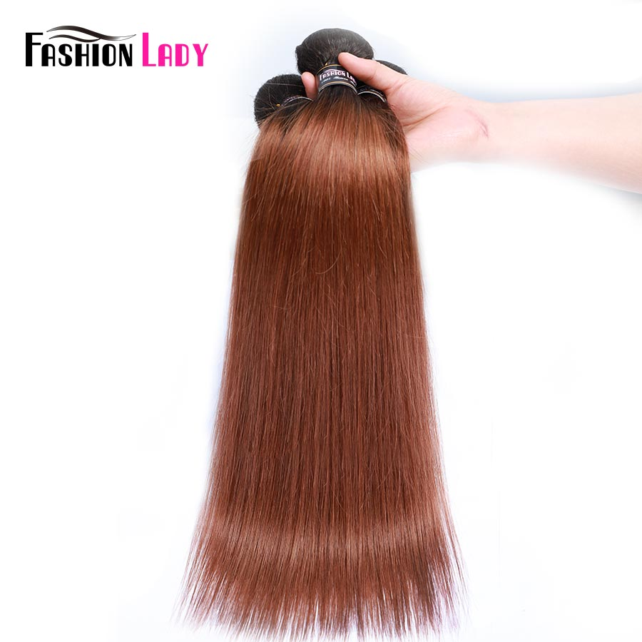 FASHION LADY Pre-Colored Peruvian Straight Bundles Human Hair Weave 1B/30 Brown Ombre Bundles 1/3/4 Bundle Per Pack Non-Remy