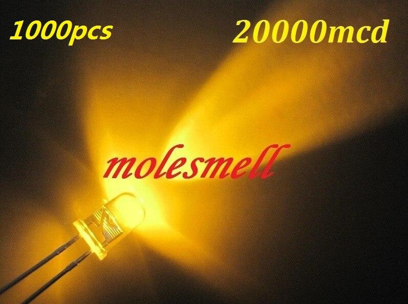 Redondo de Alta Pces Amarelo Potência Super Brilhante Água Claro Led Leds 20000 Mcd Redondo 1000 5mm