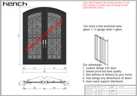 Hench Private Design Luxury Villa Wrought Iron Entry Doors V T12
