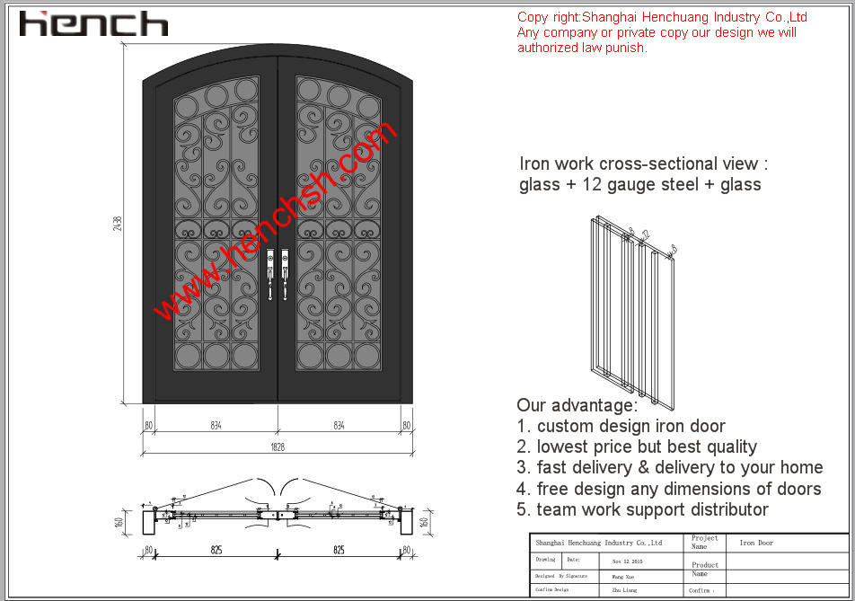 Hench private design luxury villa wrought iron entry doors v t12-in ...