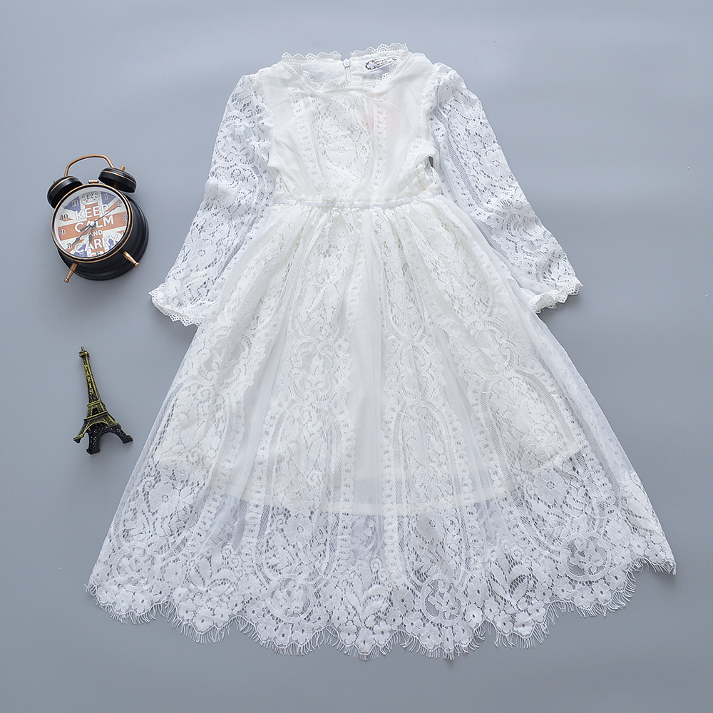 2017 New Fashion Girls Dress White Long Sleeves Lace Princess Children Baby Girl Dress Baby Girl Clothes Kids Dresses For Girls fashion 2016 new autumn girls dress cartoon kids dresses long sleeve princess girl clothes for 2 7y children party striped dress