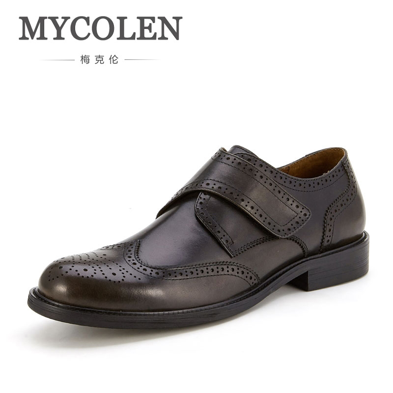 MYCOLEN New Brand Business Mens Dress Shoes Handmade Luxury Fashion Genuine Leather Tan Black Italian Fashion Male Shoes mycolen mens genuine leather shoes dress italian leather male shoes elevator glitter black brown business shoes four seasons