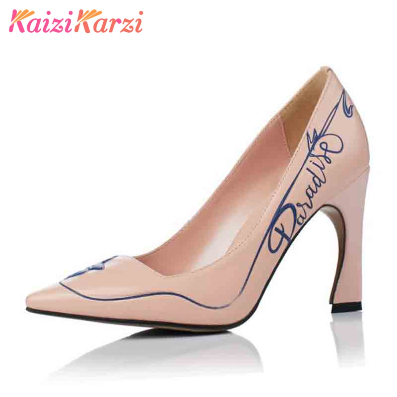 купить KaiziKarzi Office Lady Real Leather High Heel Shoes Women Pointed Toe Solid Color Pumps Sexy Party Female Footwear Size 34-39 по цене 3725.58 рублей