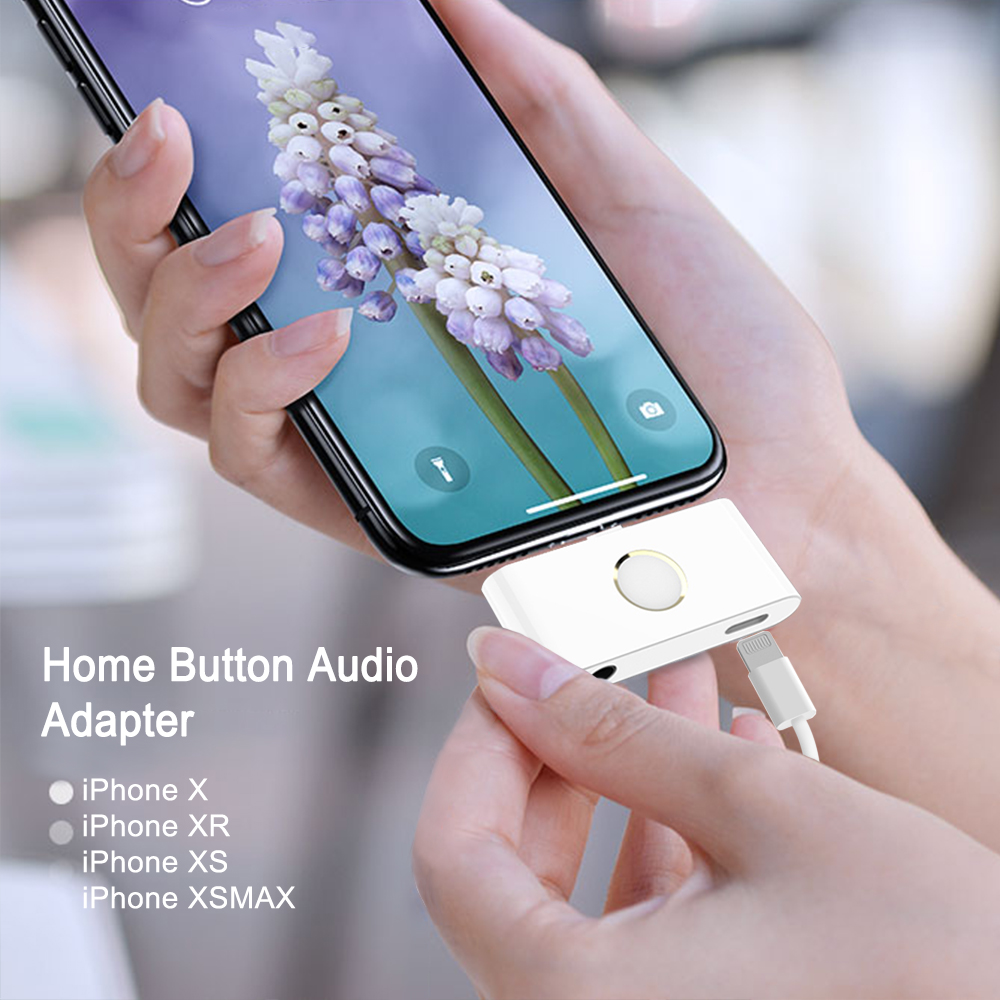 2019 New Arrival Home Button Audio Headphone jack Charge Adapter for iPhone X XR XS Converter Support Listen Music and Charging