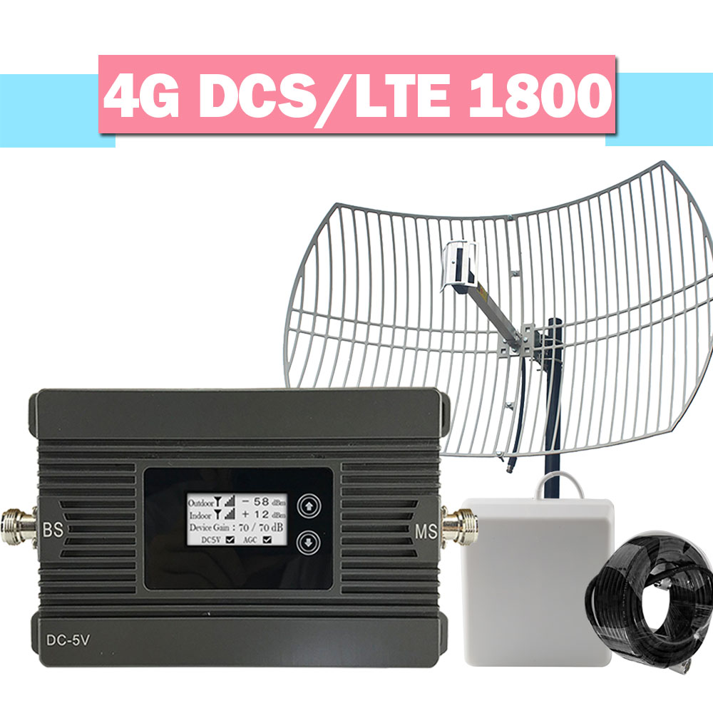 Smart 4G LTE DCS 1800MHz Cellular Signal Amplifier 80dB Gain High Power Grid Antenna Set Repeater LCD AGC 4G Cell Phone Booster