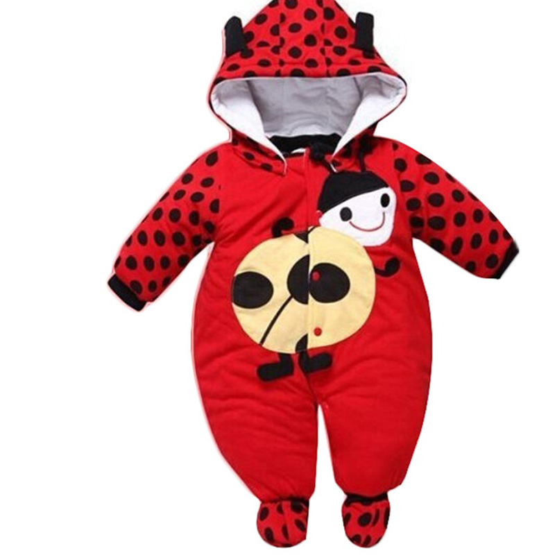 Hot Sellin New Winter Newborn Romper Baby Boy Infant Clothes Cartoon Animal Thick Cotton Cow Beetle Rompers -17 88 88 @
