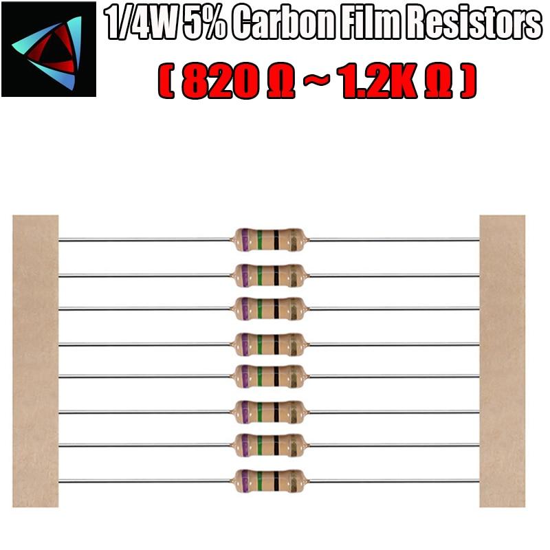 100pcs 1/4W 5% Carbon Film Resistor 820 910 1K 1.2K Ohm