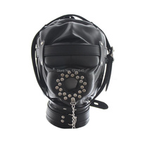 Sexy PU Leather Masks Hoods Open Mouth Gag Plug , Adult Sex Games For Couples Restraint , Slave Sex Toys Bondage Hood Mask