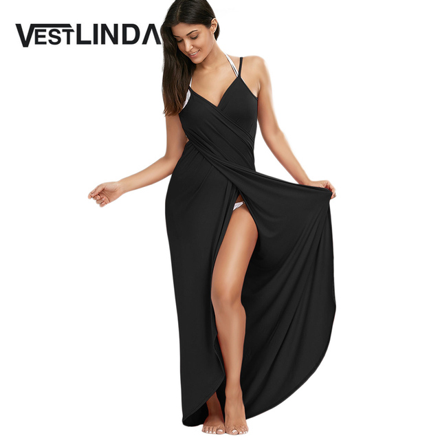 VESTLINDA Sexy Boho Maxi Dress Beach Wear Tunic Women V Neck Backless Wrap  Slip Dresses Robe Femme Summer 2017 Vestido De Festa 1bf3d931a6a7