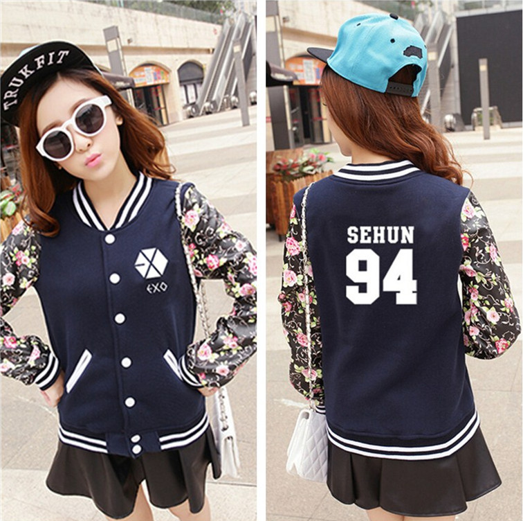 <font><b>Kpop</b></font> exo 2016 new woman Thicken baseball uniform jacket Hoodie Sweatshirt k-pop <font><b>Bigbang</b></font> Long sleeve suit Fall winter clothing image