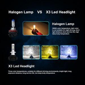 Image 3 - X3 H4 مرحبا منخفضة H7 سيارة الصمام العلوي 60W 8000LM H11 9005 9006 HB2 HB3 HB4 12V 24V 3000K 6000K 8000K السيارات LED أضواء كشافات عدة