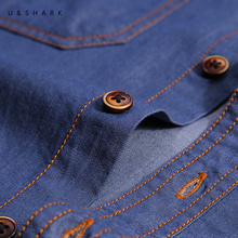 U&SHARK Autumn Male Casual Shirt Jeans Men Brand Clothing High Quality 100% Cotton Denim Shirt Mens Chambray Shirts Long Sleeve