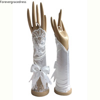 Forevergracedress Beautiful Stunning Real Photo White Ivory Bridal Gloves Elbow Length Bride Cheap Wedding Accessories