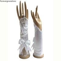 Forevergracedress Piękne Oszałamiająca Real Photo Biały Ivory Bridal Gloves Elbow Długość Bride Tanie Akcesoria Ślubne