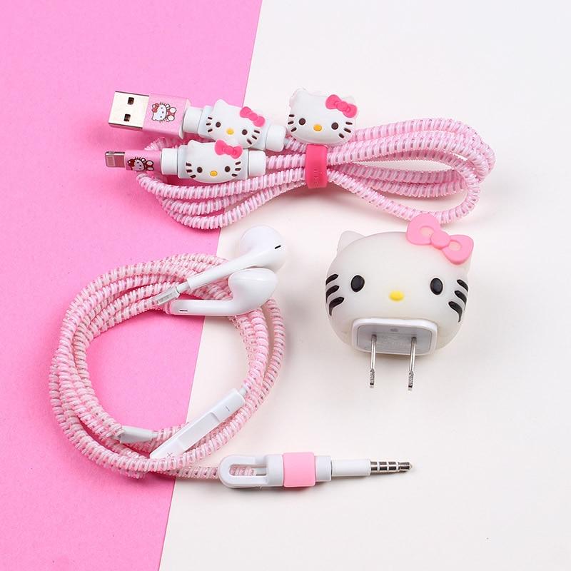 Bon cadeau mignon dessin animé USB câble écouteur protecteur ensemble avec enrouleur de câble autocollants spirale cordon protecteur pour iphone 5 6 6s 7plus