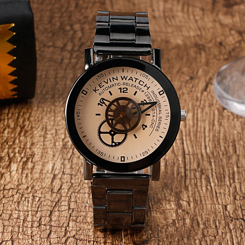 Classic Brand KEVIN Beige Gear Mechanical Dial Analog Quartz-watch Stainless Steel Band Wrist Watch Men Women Casual Watches 2pcs at89s52 24pu dip 40 at89s52 dip at89s52 24 programmable flash new and original ic free shipping